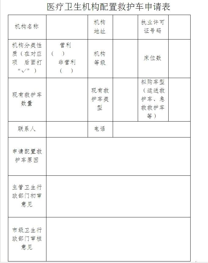 医疗卫生机构配置救护车申请表